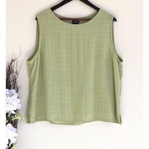 Eileen Fisher Green Italian fabric linen top